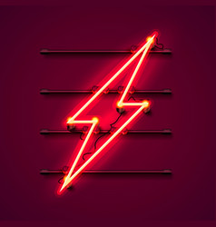 Neon sign of lightning signboard vector