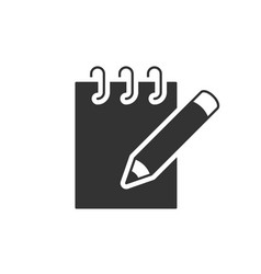 notebook with pencil black icon vector image
