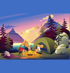 outdoor recreation friends fire at sunset vector image