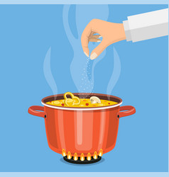 Pan on the fire a pot of soup vector