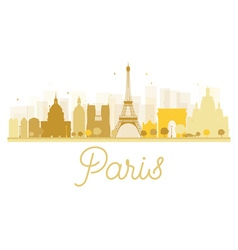 Paris City skyline golden silhouette vector