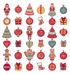 Pattern with christmas toys icons set vector