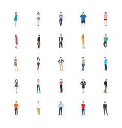 people character flat icons pack vector image