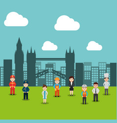 people workers various profession standing meadow vector image