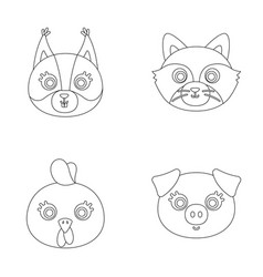 Protein raccoon chicken pig animal s muzzle vector