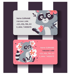 raccoon cafe set business cards vector image