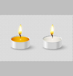 Realistic tealight candle icon set isolated on vector