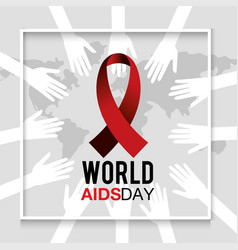 Red ribbon to world aids day protection vector