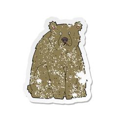 Retro distressed sticker of a cartoon funny bear vector