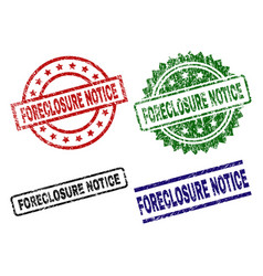 Scratched textured foreclosure notice seal stamps vector