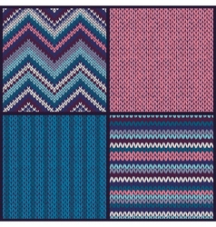 Seamless Knitted Pattern Set Collection vector