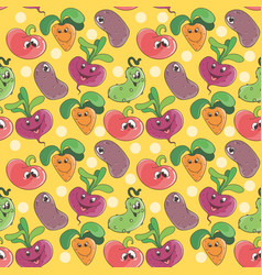seamless pattern background with cartoon funny vector image