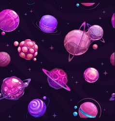 Seamless pattern with fantasy purple planets on vector