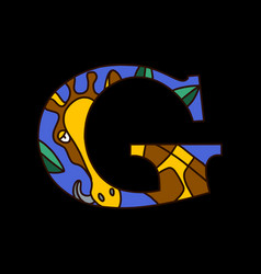 Serif alphabet letter g with doodle giraffe vector
