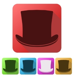 Set Flat icons of black gentleman hat cylinder vector image