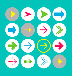 set of 16 rigth arrow icons arrow buttons on vector image