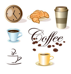 Set of coffee cups clock and croissant vector