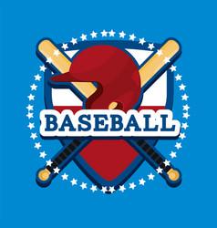 Shield baseball emblem with helmet and bats vector