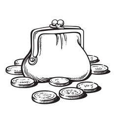 Sketch of purse with coins cartoon style hand vector