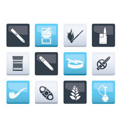 Smoking and cigarette icons over color background vector