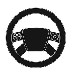 steering wheel single icon in black style for vector image