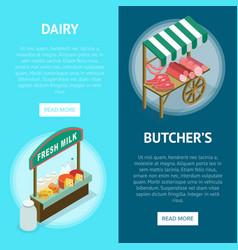 Street farm market food counter vector