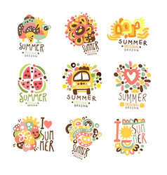 summer holidays set for label design journey vector image