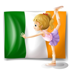The flag of Italy at the back of a girl vector