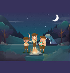 Three scouts camping for activity in the night vector
