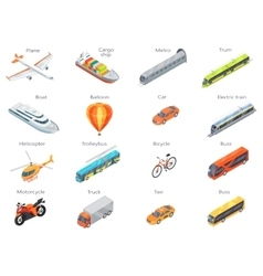 Transport Icons in Isometric Projection vector