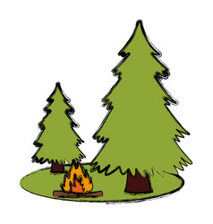 trees pines and bonfire vector image