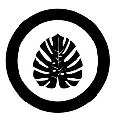 tropical leaf black icon in circle vector image