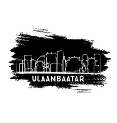 ulaanbaatar mongolia city skyline silhouette hand vector image