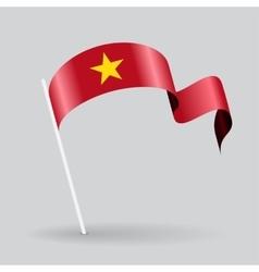 Vietnamese wavy flag vector image