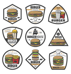Vintage colored burger labels set vector