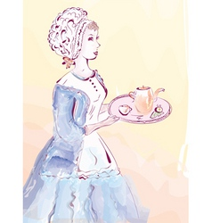 Vintage waitress vector