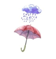 Watercolor set of umbrellas cloud heavy rain vector