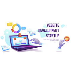 website development startup banner vector image
