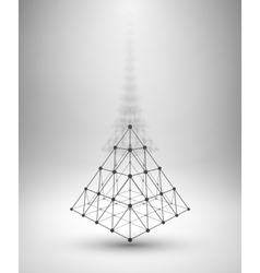 Wireframe shape Pyramid with connected lines and vector