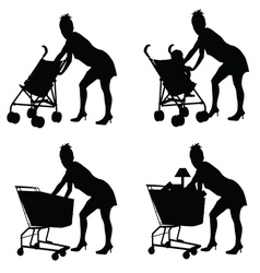 Woman with baby and shoping basket vector