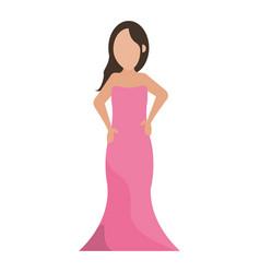 women day girl model fashion pink dress vector image