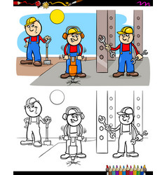 Workers or builders characters coloring book vector