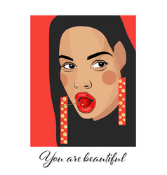 You are beautiful typography slogan with girl vector
