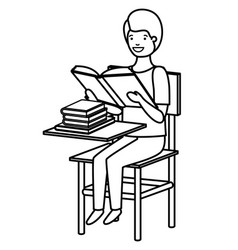 Young student boy reading in school chair vector