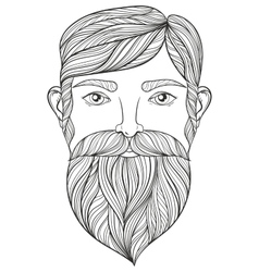 Zentangle Portrait of Man with Mustache and vector