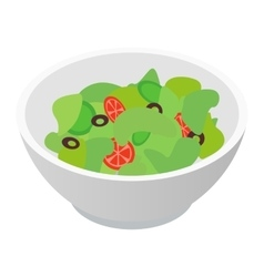 Bowl of salad isometric 3d icon vector image
