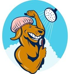 Cartoon dog singing shower scrubbing brush vector image
