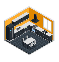 kitchen interior isometric concept vector image vector image