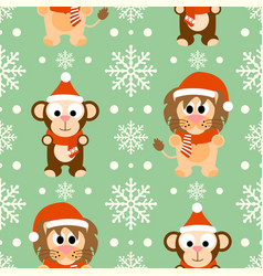 new year seamless background with monkey lion vector image
