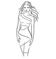 graceful young women in fitting dress vector image vector image